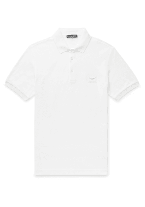 Dolce & Gabbana - Slim-Fit Logo-Appliquéd Cotton-Piqué Polo Shirt - Men - White