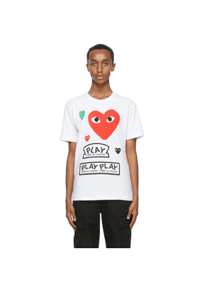 Comme des Garcons Play White and Red Multi Logo T-Shirt