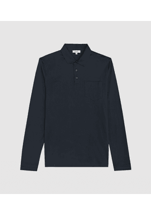 Reiss Robbie - Mercerised Cotton Polo Shirt in Navy, Mens, Size XS
