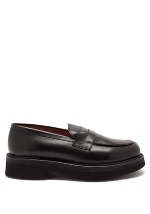 Grenson - Peter Platform-sole Leather Penny Loafers - Mens - Black