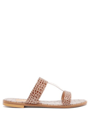 Avec Modération - Aruba Crocodile-effect Leather Sandals - Womens - Beige White