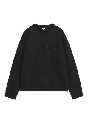 Oversized Embroidery Sweatshirt - Black