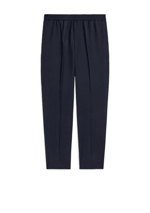 Elastic-Waist Wool Trousers - Blue