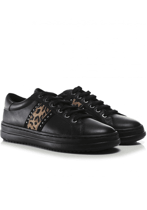 Geox Leather Pontoise Trainers Colour: Black