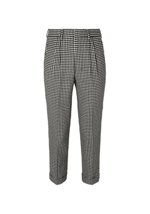 AMI - Slim-Fit Tapered Pleated Checked Wool-Blend Trousers - Men - Neutrals