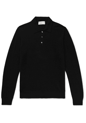 Altea - Mélange Cashmere Polo Shirt - Men - Black