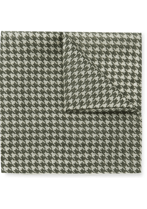 Anderson & Sheppard - Houndstooth Wool and Silk-Blend Pocket Square - Men - Green