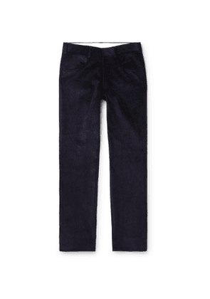 Anderson & Sheppard - Slim-Fit Cotton-Corduroy Trousers - Men - Blue