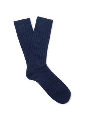 Anderson & Sheppard - Ribbed Wool-Blend Socks - Men - Blue