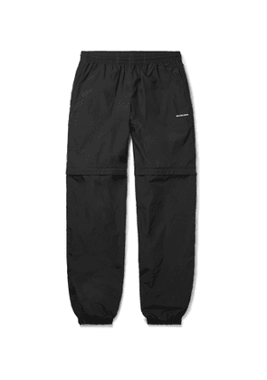 Balenciaga - Tapered Zip-Off Crinkled-Nylon Track Pants - Men - Black