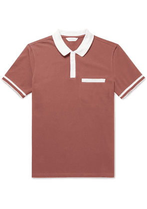 Club Monaco - Slim-Fit Two-Tone Cotton-Blend Piqué Polo Shirt - Men - Red