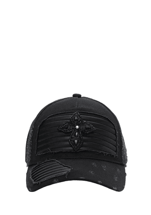 Cross Distressed Hat W/ Leather Details