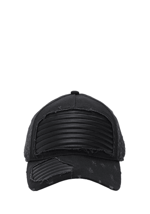 Distressed Cotton Hat W/ Leather Details
