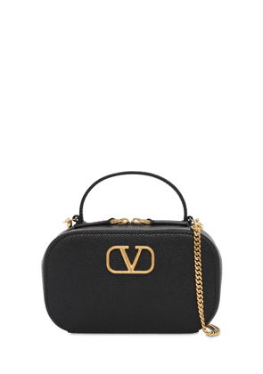 V Logo Grained Leather Micro Bag