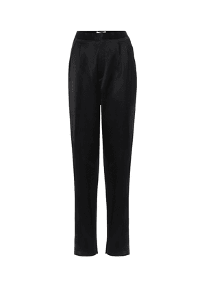 High-rise slim satin pants