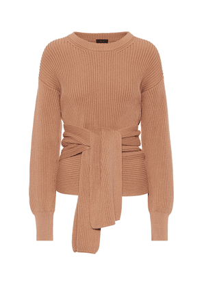 Ribbed-knit cotton wrap sweater