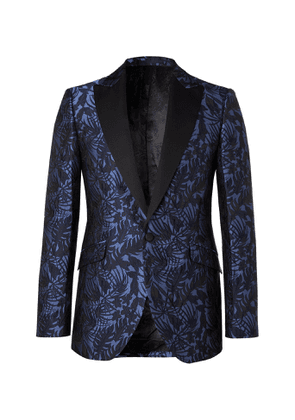 Favourbrook - Botanics Grosgrain-Trimmed Cotton and Silk-Jacquard Tuxedo Jacket - Men - Blue