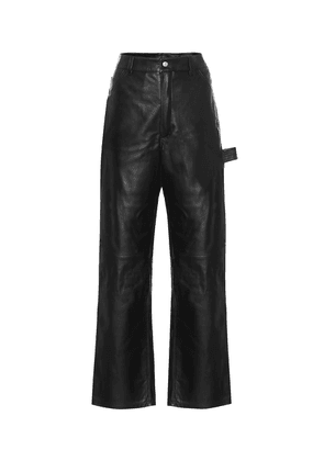 High-rise wide-leg leather jeans