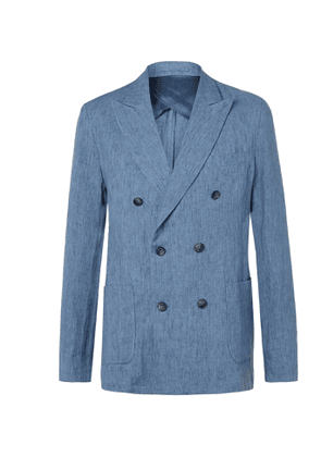 Frescobol Carioca - Johannes Huebl Unstructured Double-Breasted Linen Blazer - Men - Blue