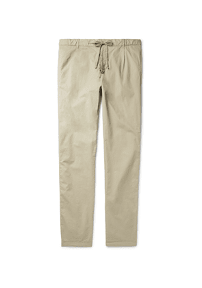 Hartford - Tanker Slim-Fit Tapered Pleated Cotton Drawstring Trousers - Men - Neutrals