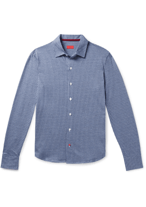 Isaia - Slim-Fit Micro-Checked Cotton Shirt - Men - Blue