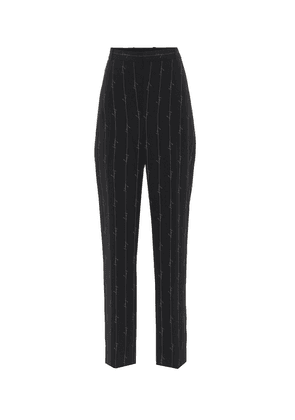 Pinstriped high-rise straight pants