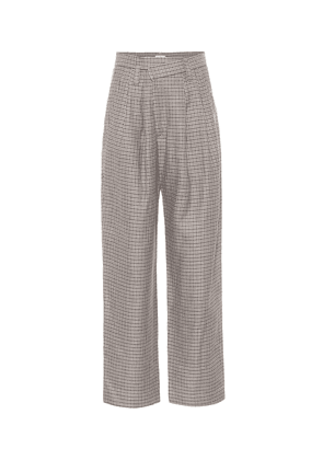 Checked linen, wool and silk wide-leg pants