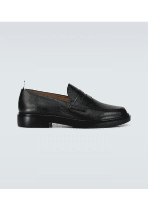Grained leather penny loafers