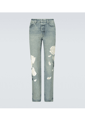 Flower painted relaxed jeans