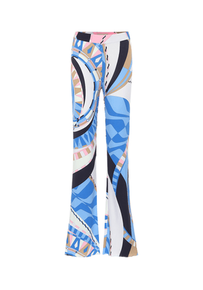 Printed high-rise flared jersey pants
