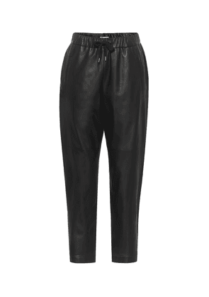 Cropped leather trackpants