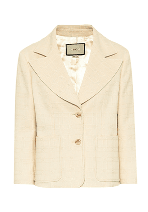 Checked cotton and wool blazer
