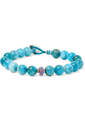 Mikia - Apatite, Silver-Plated, Glass and Shell Beaded Bracelet - Men - Blue