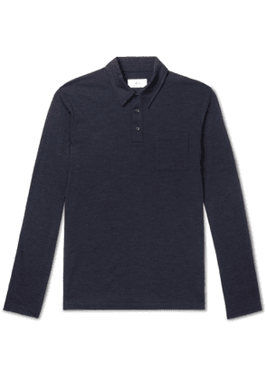 Mr P. - Slim-Fit Mélange Wool-Jersey Polo Shirt - Men - Blue