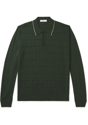 Mr P. - Slim-Fit Contrast-Tipped Textured Merino Wool Polo Shirt - Men - Green