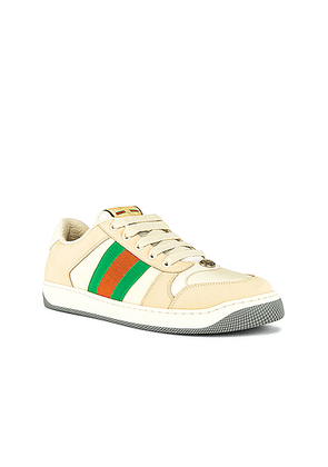 Gucci Screener Low Top Sneaker in White & Red & Green - Neutral. Size 9 (also in 8.5,9.5,10.5,11.5,12,7,7.5).