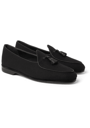 Rubinacci - Marphy Leather-Trimmed Flannel Tasselled Loafers - Men - Black