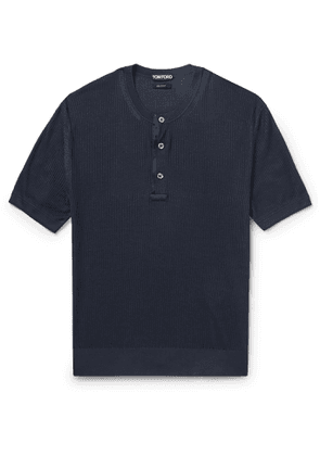 TOM FORD - Satin-Trimmed Ribbed Silk Henley T-Shirt - Men - Blue