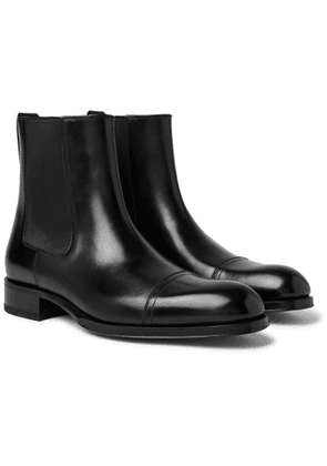 TOM FORD - Edgar Cap-Toe Polished-Leather Chelsea Boots - Men - Black