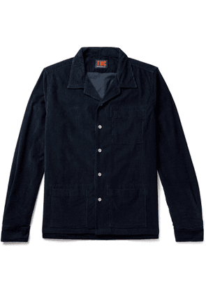 The Workers Club - Camp-Collar Garment-Dyed Cotton-Corduroy Overshirt - Men - Blue