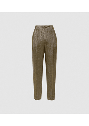 Reiss Camille - Shimmer Tapered Trousers in Gold, Womens, Size 4