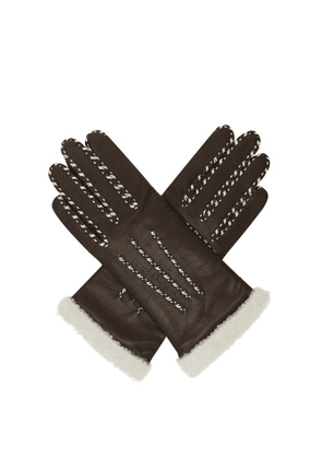 Agnelle - Marie Louise Topstitched Leather Gloves - Womens - Brown