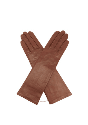 Agnelle - Célia Silk-lined Leather Gloves - Womens - Brown