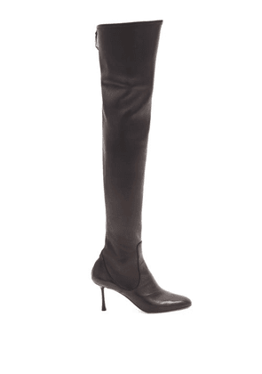 Francesco Russo - Zipped Leather Knee-high Boots - Womens - Black