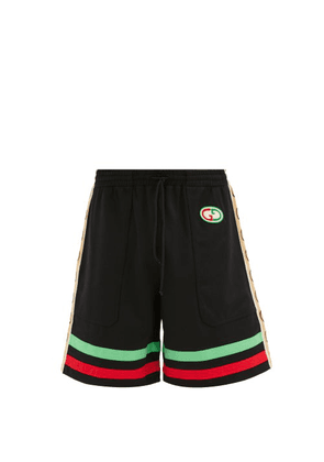 Gucci - GG-patch Web Stripe Jersey Shorts - Mens - Black Multi