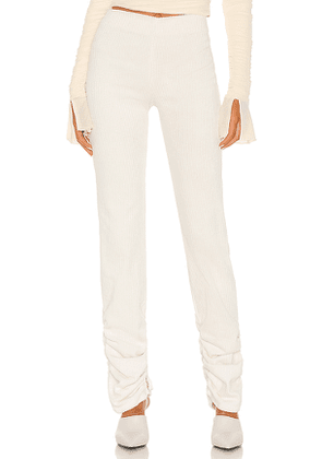 DANIELLE GUIZIO Corduroy Ruched Leggings in Cream. Size L,M,S.
