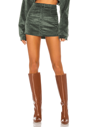 DANIELLE GUIZIO Corduroy Button Up Skirt in Green. Size L.