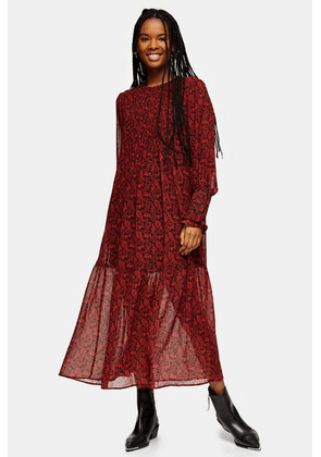Womens Red Paisley Pintuck Chuck On Midi Dress - Red, Red