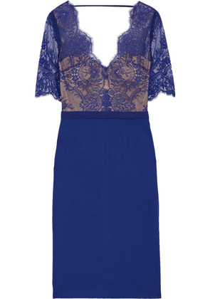 Catherine Deane Naomi Grosgrain-trimmed Lace And Ponte Dress Woman Royal blue Size 8