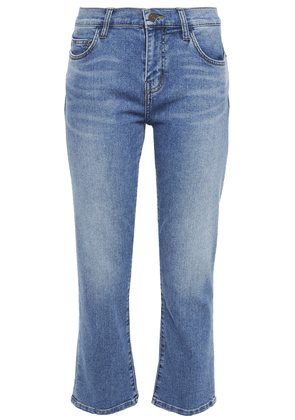 Current/elliott The Scooped Ruby Cropped Mid-rise Straight-leg Jeans Woman Mid denim Size 27